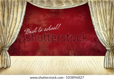 Theater stage with curtain and inscription Back to school - stock photo