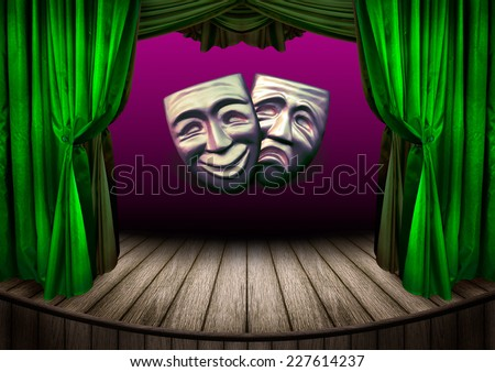 Theater stage with curtains. Old theatrical scene for your design - theater performance with masks of tragic and comedy. Art concept of theatrical poster design.  - stock photo