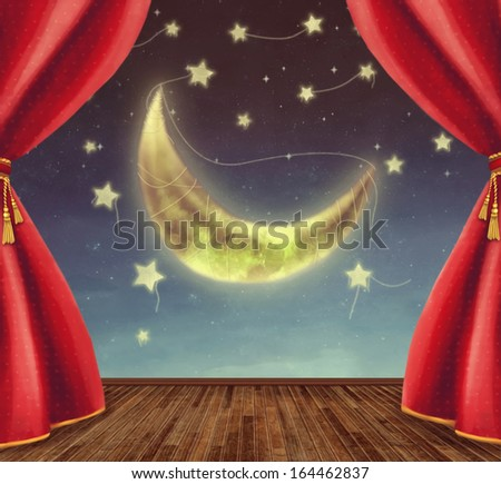Theater stage with moon and stars - stock photo