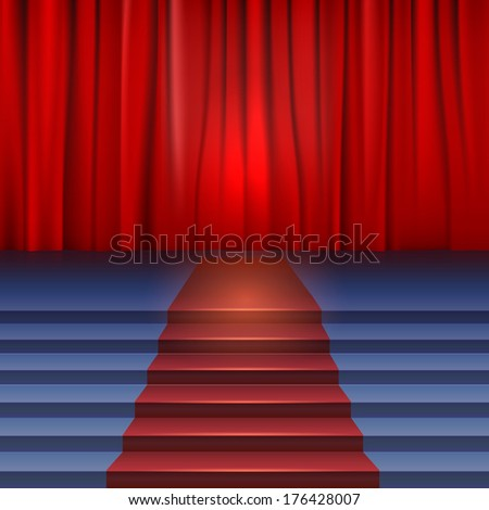 Theater stage with red curtain and carpet. Stairs covered red carpet - stock photo