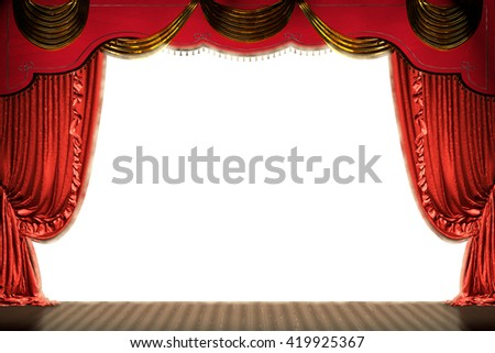 Theater stage with red curtain  (with clipping path of space for copy). 3d illustration - stock photo