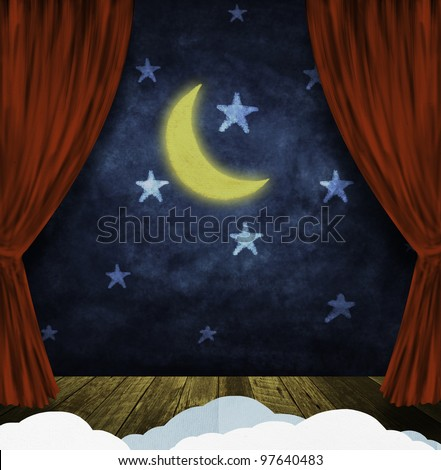 theater stage with red curtains and night sky,stars ,moon background - stock photo
