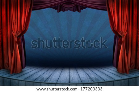 Theater stage with red curtains and spotlights. Theatrical scene in the light of searchlights, the interior of the old theater. - stock photo