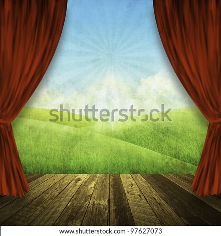 theater stage with red curtains and spring summer background - stock photo