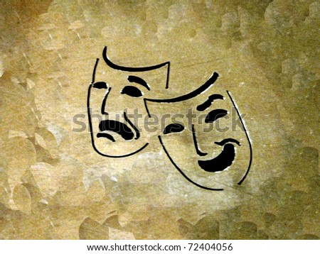 theatre: laughing and crying masks over grunge background - stock photo