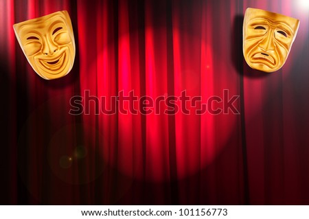 Theatre performance concept with masks - stock photo