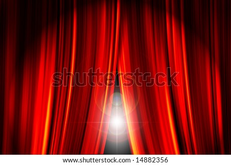 Theatre stage red curtains opening showing a bright light flare behind them - stock photo