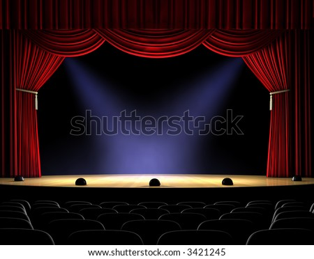 Theatre stage with red curtain and spotlights on the stage floor - stock photo