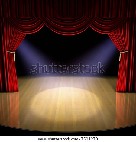 Theatre stage with red curtain and spotlights on the stage floor. - stock photo
