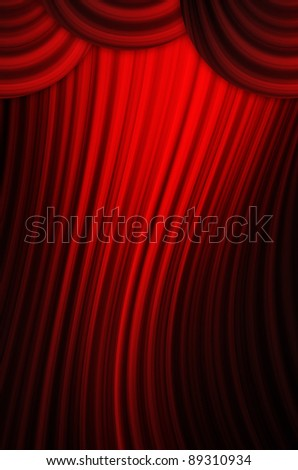 Theatrical curtain of red color - stock photo