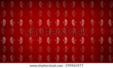 Theatrical mask on a red background.  texture - stock photo