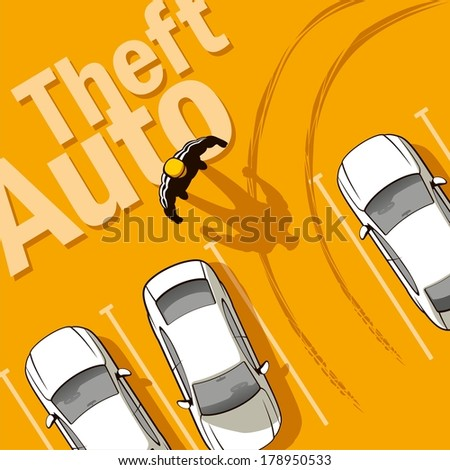 Theft Auto. The owner discovers the theft of his car from the parking lot. - stock photo