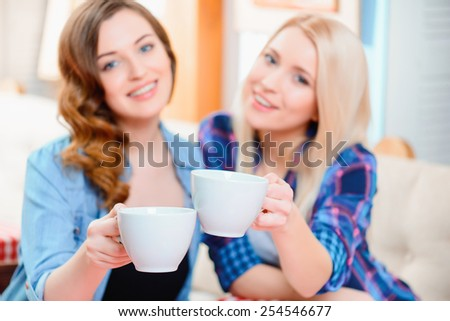 Their friendship will last a lifetime. Selective focus image of two young beautiful female friends sitting in cafe and drinking tea - stock photo