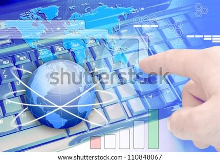 Theme background communications technology, information technology and active business concept - stock photo