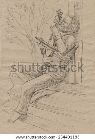 Theme: Music and Musicians. Gadulka player. A hand drawn illustration, full sized - original. Version: Freehand sketch on old paper. - stock photo