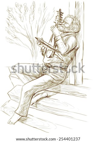 Theme: Music and Musicians. Gadulka player. A hand drawn illustration, full sized - original. Version: Freehand sketch on white. - stock photo