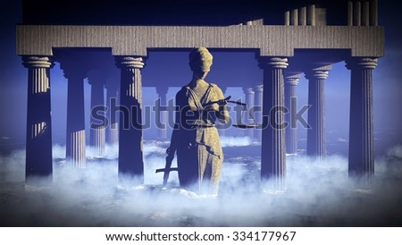 Themis - lady of justice. Conceptual illustration - stock photo