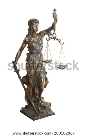 Themis, mythological Greek goddess, symbol of justice, blind and holding empty balance in one hand and sword in another, isolated on white background  - stock photo
