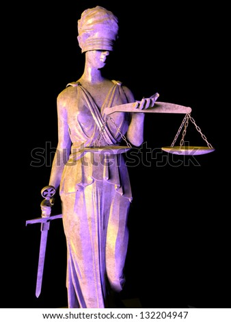 Themis the justice goddess on black - stock photo