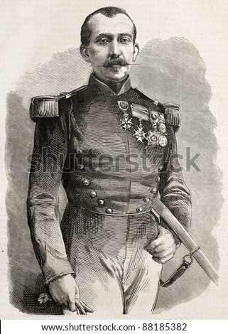 Theobald-Jean de Bentzmann old engraved portrait, French army General. Created by Bayard after photo of Mayer and Pierson, published on L'Illustration, Journal Universel, Paris, 1860 - stock photo