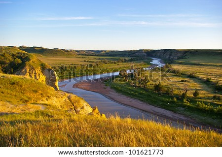 Theodore Roosevelt National Park - The Little Missouri River - stock photo