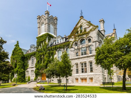 Theological Hall building on campus of Queen's University in Kingston, Ontario, Canada. - stock photo