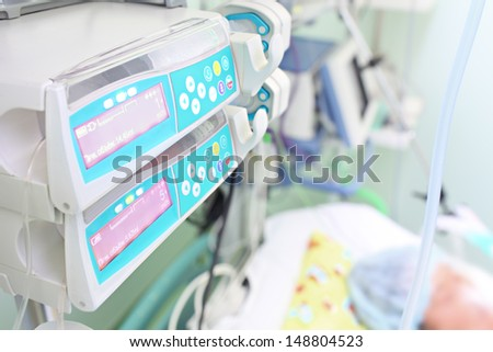 therapy in the hospital ward. ICU for adults. - stock photo