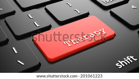 Therapy on Red Keyboard Button Enter on Black Computer Keyboard. - stock photo