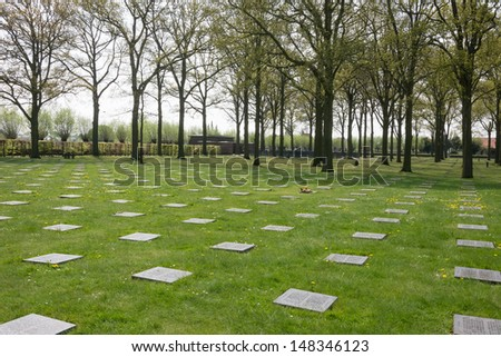 There are more than 44000 German dead buried here. During the First Battle of Ypres 1914 inexperienced German troops many students made a frontal attack against experienced British and French forces. - stock photo