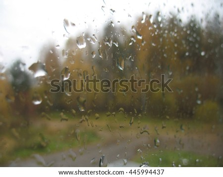 There are window glass and rain drops - stock photo