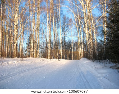 There are winter snow covered trees, snow snowdrift and road - stock photo