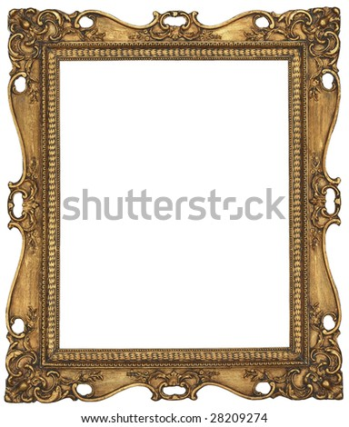 There is a antique gold picture frame - stock photo