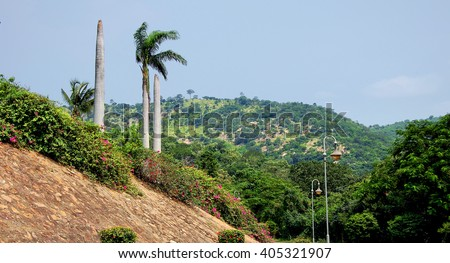 There is a beautiful african landscape at the equator. - stock photo