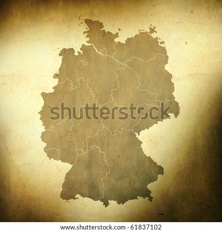 There is a map of Germany on grunge paper background - stock photo