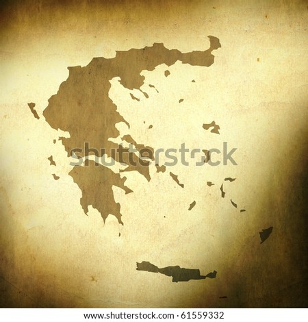 There is a map of Greece on grunge paper background - stock photo