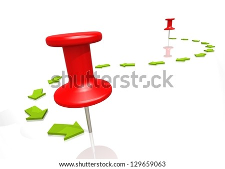 There to here with red push pin - stock photo