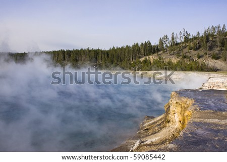 Thermal activity in Yellowstone - stock photo