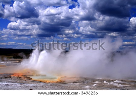 Thermal activity in Yellowstone National Park, Wyoming - stock photo