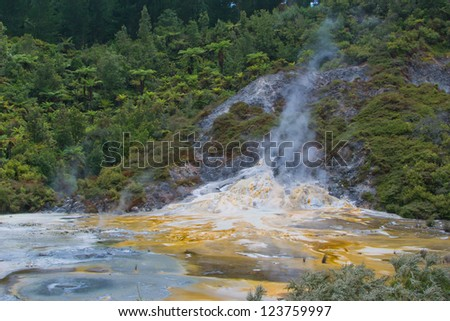 Thermal attraction in New Zealand showing silica overflows - stock photo