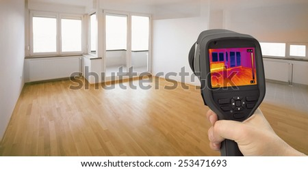 Thermal Image of Heat Leak thru Windows  - stock photo