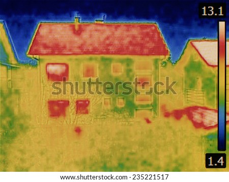 Thermal Image of the House - stock photo