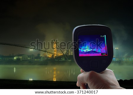 Thermal Imaging Supervision of Oil Refinery - stock photo