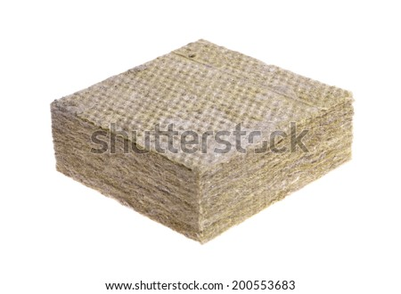 Thermal insulation  -mineral wool  isolated on white background  - stock photo