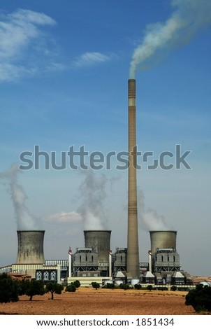 Thermal - nuclear electric farm - stock photo