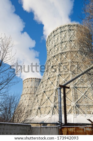 thermal power plant in winter - stock photo