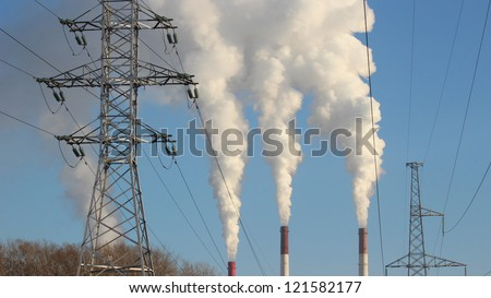 Thermal power plant, the smoke from the chimney. Generation - stock photo