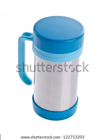 Thermo cup on the white background - stock photo