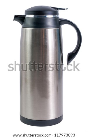 Thermo flask from stainless steel for hot drinks isolated on white background - stock photo