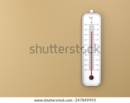 Thermometer attached on brown wall - stock photo