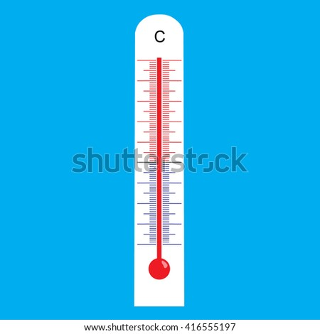 Thermometer icon flat design style red raster illustration - stock photo